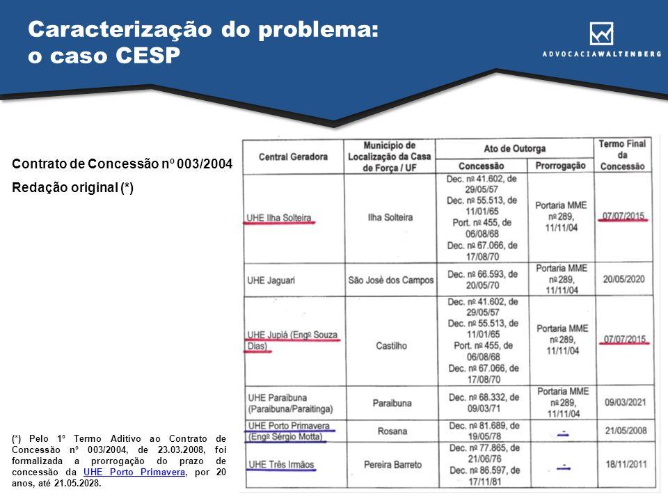 Caracterização do problema: o caso CESP Contrato de Concessão nº 003/2004 Redação original (*) (*) Pelo 1º Termo Aditivo ao Contrato de Concessão nº 0