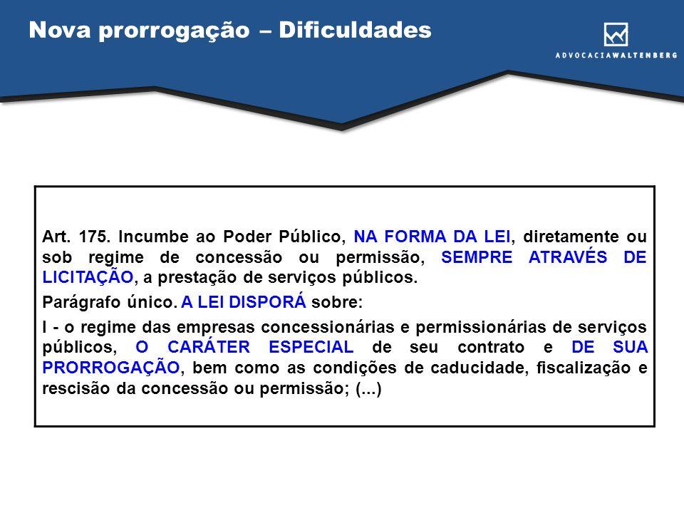 Nova prorrogação – Dificuldades Art. 175. Incumbe ao Poder Público, NA FORMA DA LEI, diretamente ou sob regime de concessão ou permissão, SEMPRE ATRAV