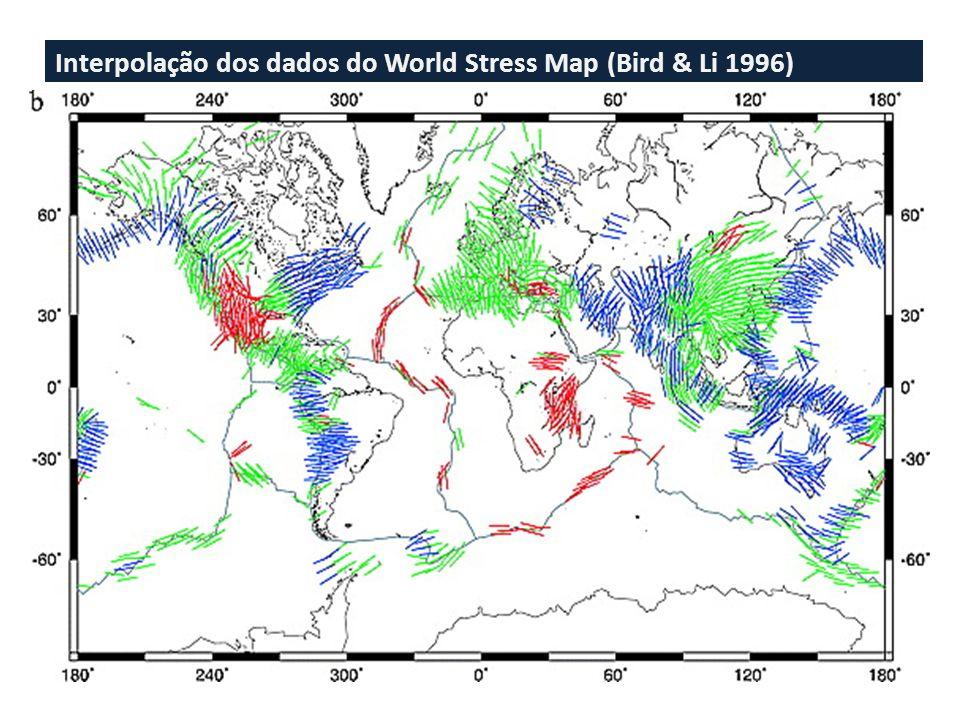 Esforços na Placa Sul-Americana Sub-Andes: S Hmax ~ EW com tendência de ser perpendicular ao platô. Costa do Brasil: S Hmax ~ paralelo à costa S hmin