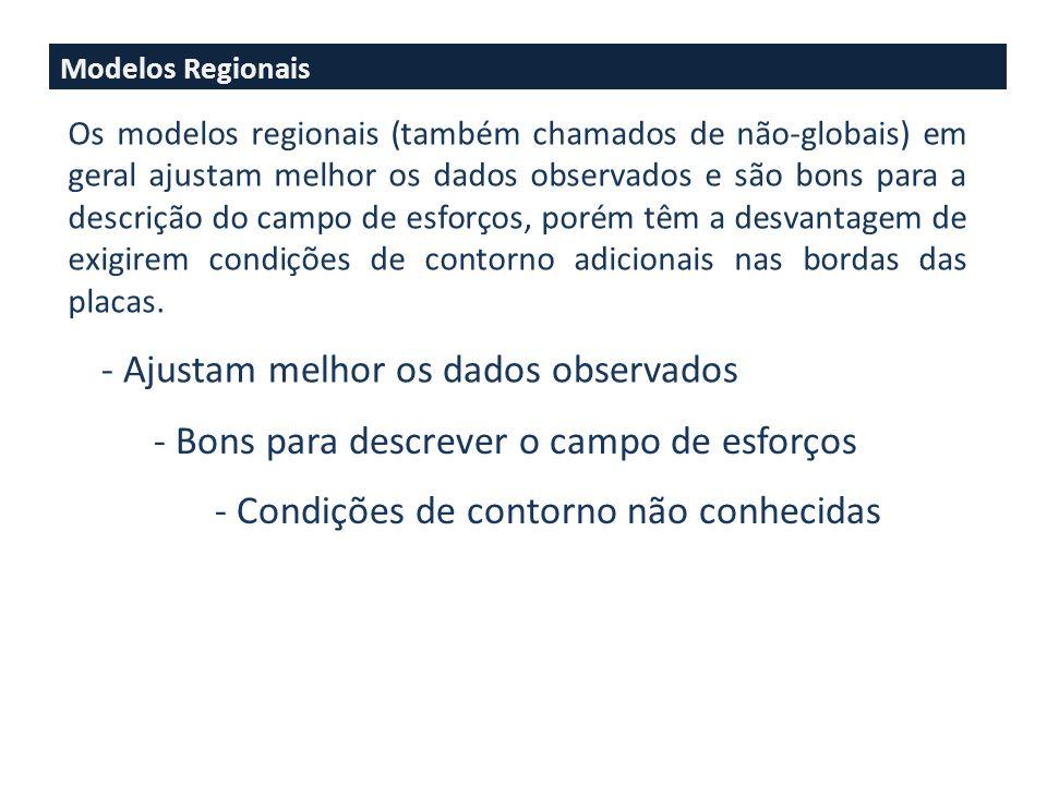 Dois tipos de modelos de esforços: - Regional - Global Os modelos Regionais (também conhecidos como não-globais) tem a desvantagem de requerer vínculo