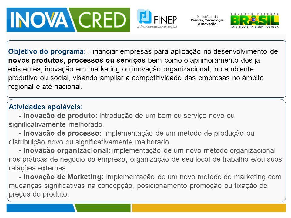 Objetivo do programa: Financiar empresas para aplicação no desenvolvimento de novos produtos, processos ou serviços bem como o aprimoramento dos já ex