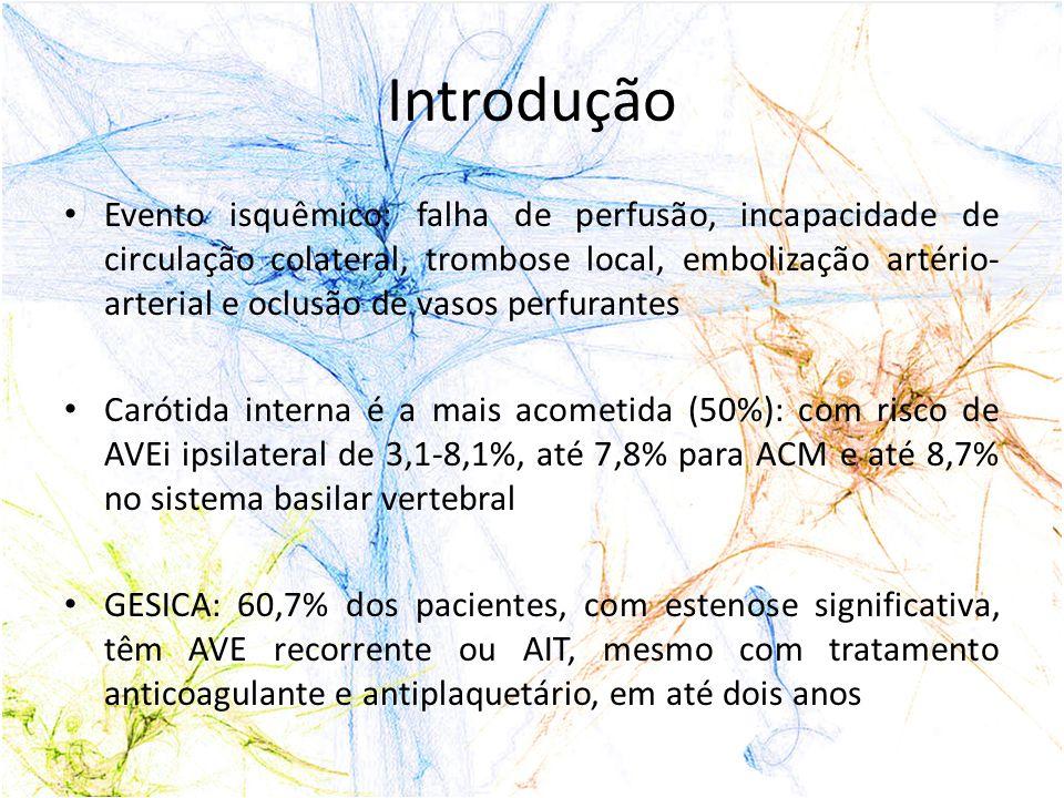 Material e Métodos 1996 -2008 28 pacientes, 30 vasos acometidos 25 sexo masculino Idade: 41-82 anos, com média de 63,8 Sintomáticos que foram submetidos à angioplastia com stent na França e no Brasil