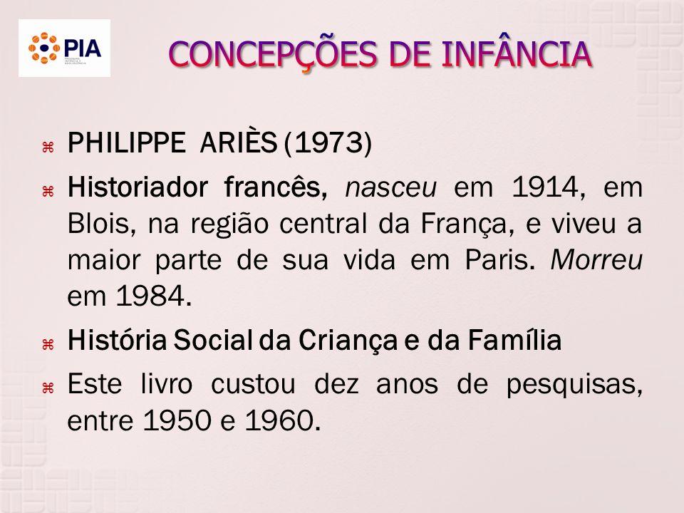 PHILIPPE ARIÈS (1973) Historiador francês, nasceu em 1914, em Blois, na região central da França, e viveu a maior parte de sua vida em Paris.
