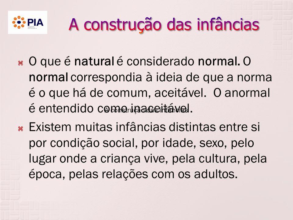 A construção das infâncias O que é natural é considerado normal.