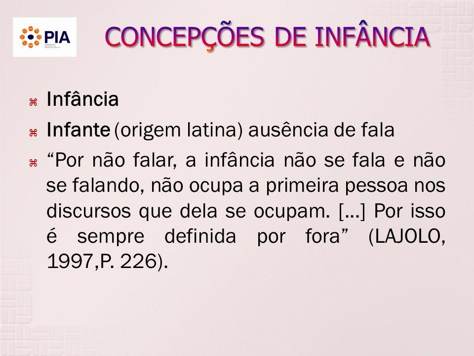 Infância Infante (origem latina) ausência de fala Por não falar, a infância não se fala e não se falando, não ocupa a primeira pessoa nos discursos que dela se ocupam.