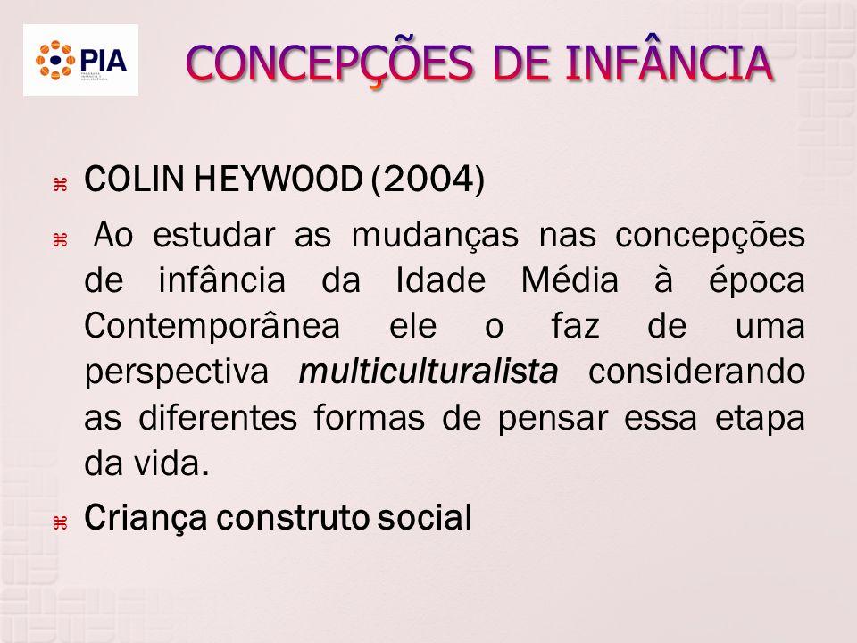 COLIN HEYWOOD (2004) Ao estudar as mudanças nas concepções de infância da Idade Média à época Contemporânea ele o faz de uma perspectiva multiculturalista considerando as diferentes formas de pensar essa etapa da vida.