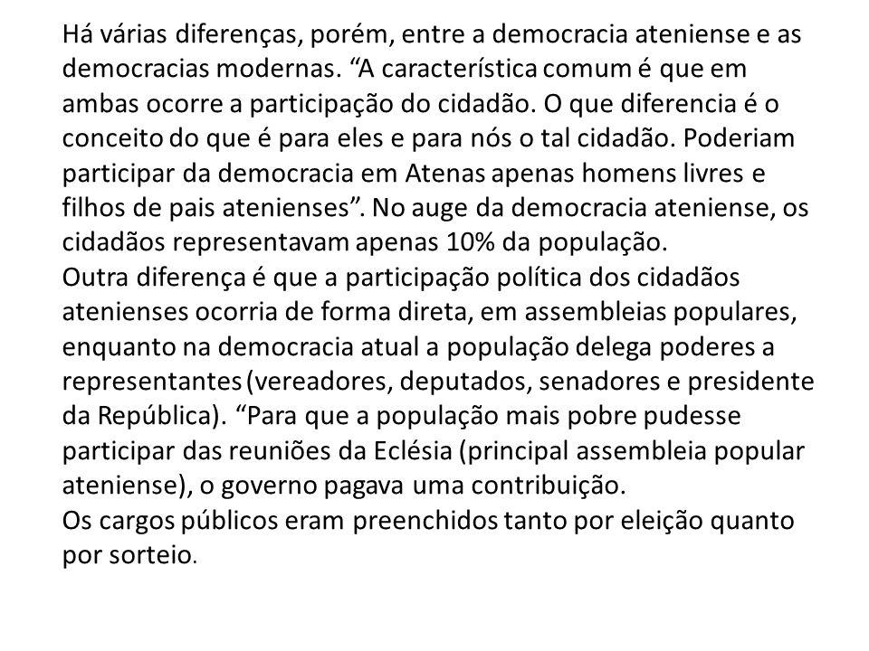 Há várias diferenças, porém, entre a democracia ateniense e as democracias modernas. A característica comum é que em ambas ocorre a participação do ci