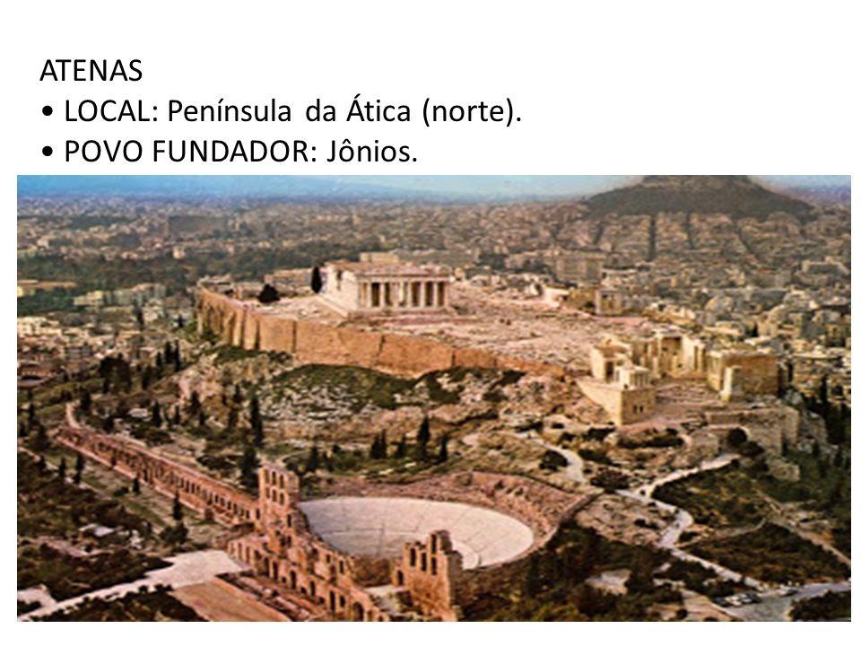 ATENAS LOCAL: Península da Ática (norte). POVO FUNDADOR: Jônios.