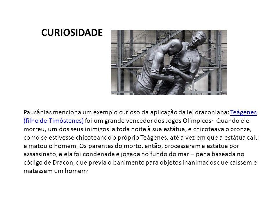 Pausânias menciona um exemplo curioso da aplicação da lei draconiana: Teágenes (filho de Timóstenes) foi um grande vencedor dos Jogos Olímpicos. Quand