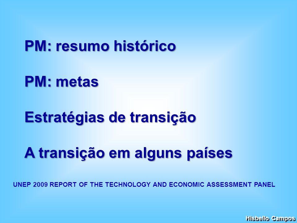 PM: resumo histórico PM: metas Estratégias de transição A transição em alguns países Hisbello Campos UNEP 2009 REPORT OF THE TECHNOLOGY AND ECONOMIC A