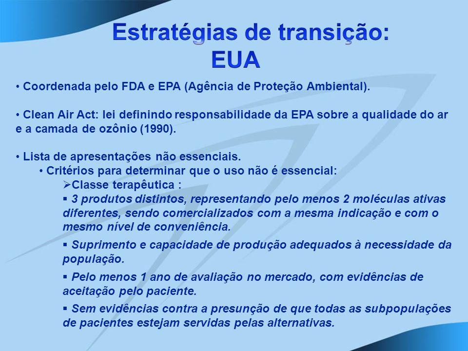 Coordenada pelo FDA e EPA (Agência de Proteção Ambiental). Clean Air Act: lei definindo responsabilidade da EPA sobre a qualidade do ar e a camada de