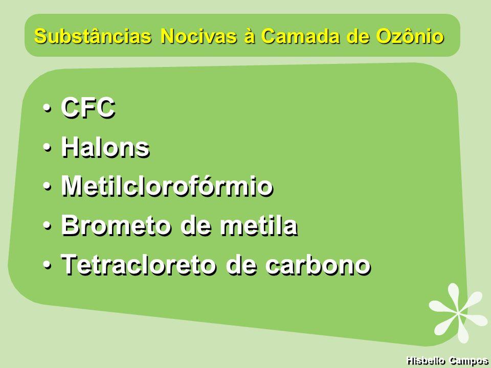 extintor de incêndio Halon 1301 - 110 anos solventes Metil Clorofórmio solventes Tetracloreto de Carbono - 67 anos aerossóis, espumas e refrigeração CFC-11 - 74 anos aerossóis, espumas, refrigeração e ar condicionado CFC-12 - em média 111 anos solventes CFC-113 - 90 anos Camada de Ozônio Os produtos químicos mais usados, seus usos e tempos de permanência na atmosfera Hisbello Campos