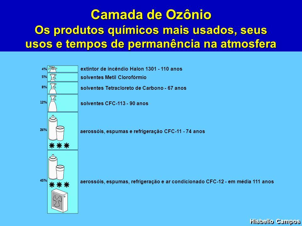 extintor de incêndio Halon 1301 - 110 anos solventes Metil Clorofórmio solventes Tetracloreto de Carbono - 67 anos aerossóis, espumas e refrigeração C