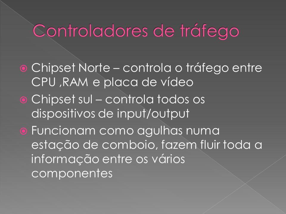Chipset Norte – controla o tráfego entre CPU,RAM e placa de vídeo Chipset sul – controla todos os dispositivos de input/output Funcionam como agulhas