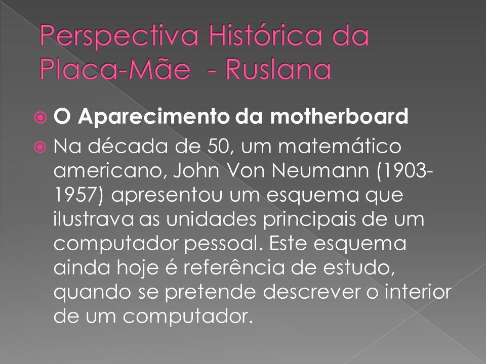 O Aparecimento da motherboard Na década de 50, um matemático americano, John Von Neumann (1903- 1957) apresentou um esquema que ilustrava as unidades