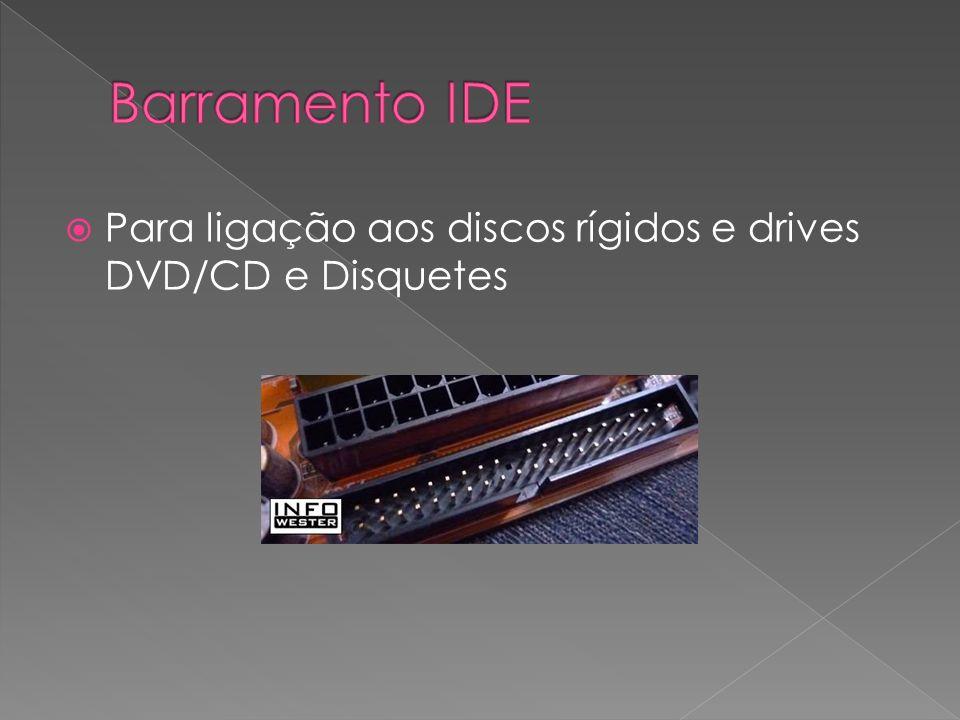 Para ligação aos discos rígidos e drives DVD/CD e Disquetes