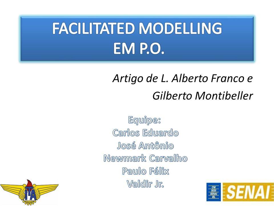 Facilitated Modelling Forma de atuação em que o consultor de Pesquisa Operacional realiza a intervenção em conjunto com o cliente, estruturando e definindo a natureza do problema, apoiando a avaliação de prioridades e o desenvolvimento de planos para a posterior implementação.