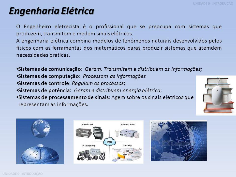 UNIDADE 0 - INTRODUÇÃO O Engenheiro eletrecista é o profissional que se preocupa com sistemas que produzem, transmitem e medem sinais elétricos. A eng