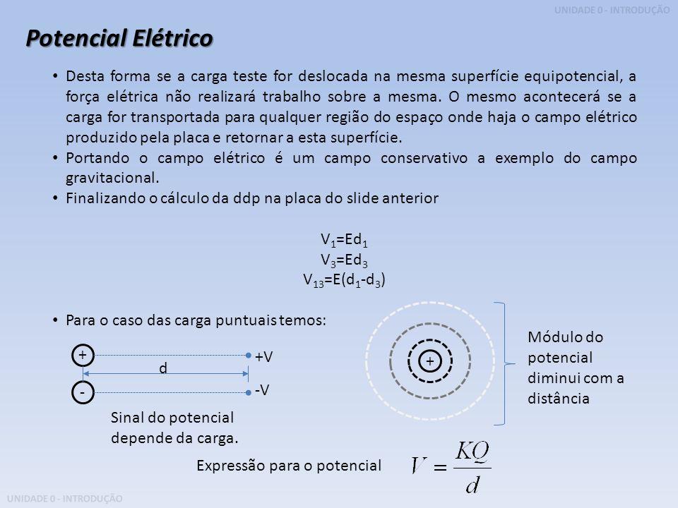 UNIDADE 0 - INTRODUÇÃO Potencial Elétrico Desta forma se a carga teste for deslocada na mesma superfície equipotencial, a força elétrica não realizará