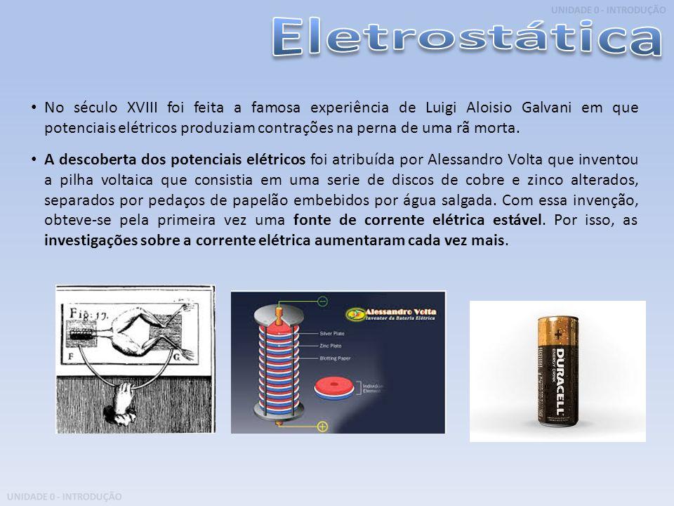 UNIDADE 0 - INTRODUÇÃO No século XVIII foi feita a famosa experiência de Luigi Aloisio Galvani em que potenciais elétricos produziam contrações na per