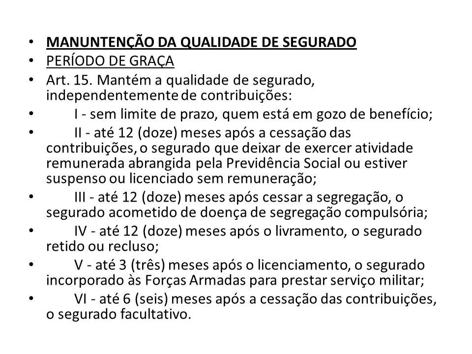 MANUNTENÇÃO DA QUALIDADE DE SEGURADO PERÍODO DE GRAÇA Art. 15. Mantém a qualidade de segurado, independentemente de contribuições: I - sem limite de p