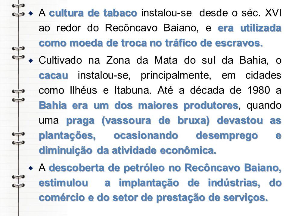 cultura de tabaco era utilizada como moeda de troca no tráfico de escravos. A cultura de tabaco instalou-se desde o séc. XVI ao redor do Recôncavo Bai