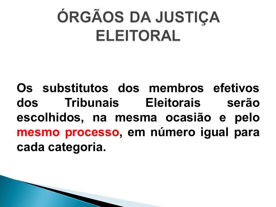 Os substitutos dos membros efetivos dos Tribunais Eleitorais serão escolhidos, na mesma ocasião e pelo mesmo processo, em número igual para cada categ