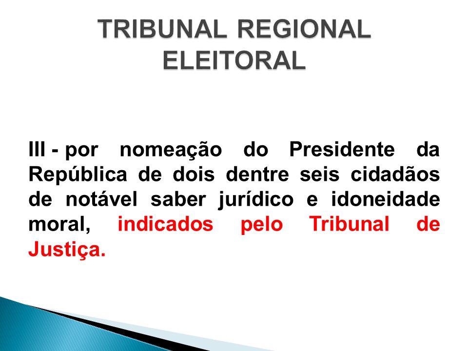 III -por nomeação do Presidente da República de dois dentre seis cidadãos de notável saber jurídico e idoneidade moral, indicados pelo Tribunal de Jus