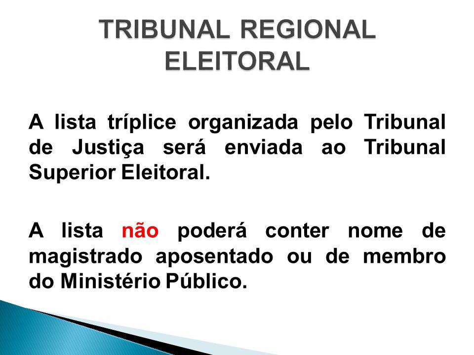 A lista tríplice organizada pelo Tribunal de Justiça será enviada ao Tribunal Superior Eleitoral. A lista não poderá conter nome de magistrado aposent
