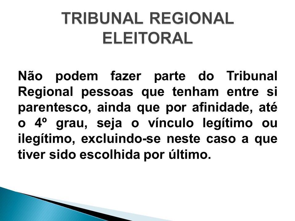 Não podem fazer parte do Tribunal Regional pessoas que tenham entre si parentesco, ainda que por afinidade, até o 4º grau, seja o vínculo legítimo ou