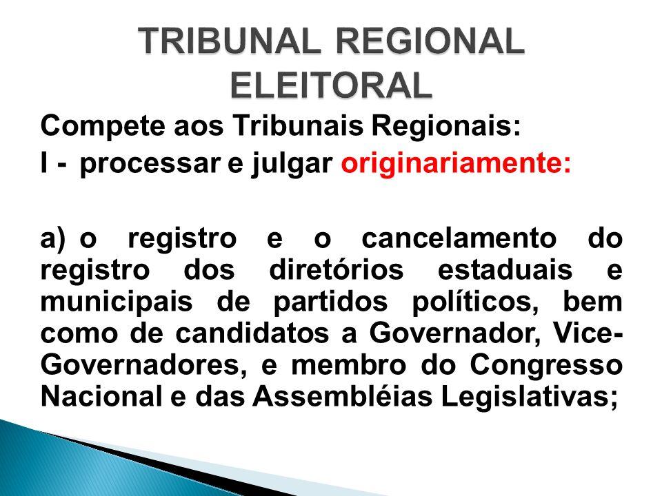 Compete aos Tribunais Regionais: I - processar e julgar originariamente: a) o registro e o cancelamento do registro dos diretórios estaduais e municip