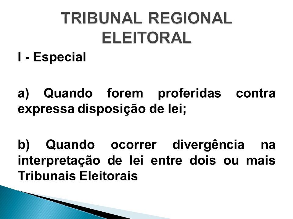 I - Especial a) Quando forem proferidas contra expressa disposição de lei; b) Quando ocorrer divergência na interpretação de lei entre dois ou mais Tr
