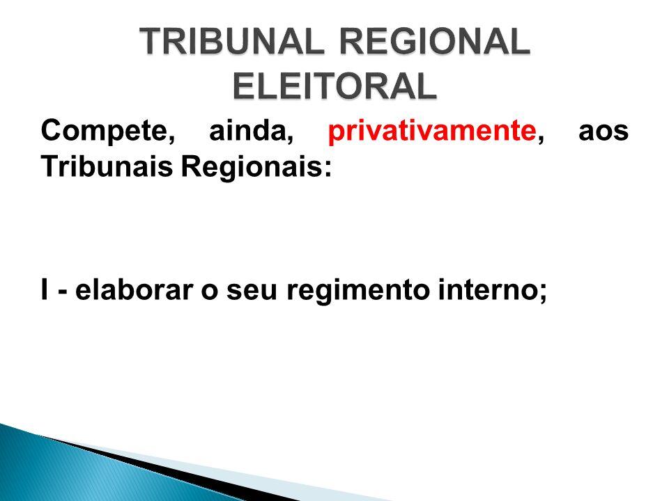 Compete, ainda, privativamente, aos Tribunais Regionais: I - elaborar o seu regimento interno;