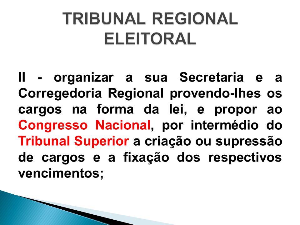 II - organizar a sua Secretaria e a Corregedoria Regional provendo-lhes os cargos na forma da lei, e propor ao Congresso Nacional, por intermédio do T