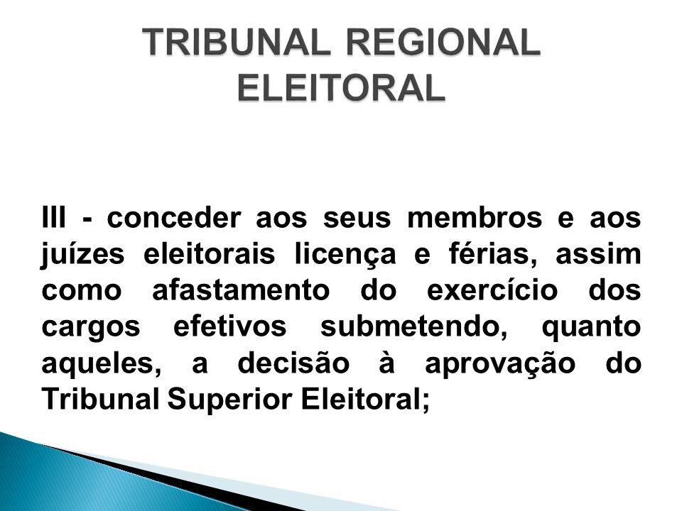 III - conceder aos seus membros e aos juízes eleitorais licença e férias, assim como afastamento do exercício dos cargos efetivos submetendo, quanto a