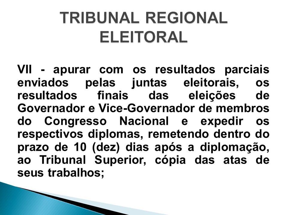 VII - apurar com os resultados parciais enviados pelas juntas eleitorais, os resultados finais das eleições de Governador e Vice-Governador de membros
