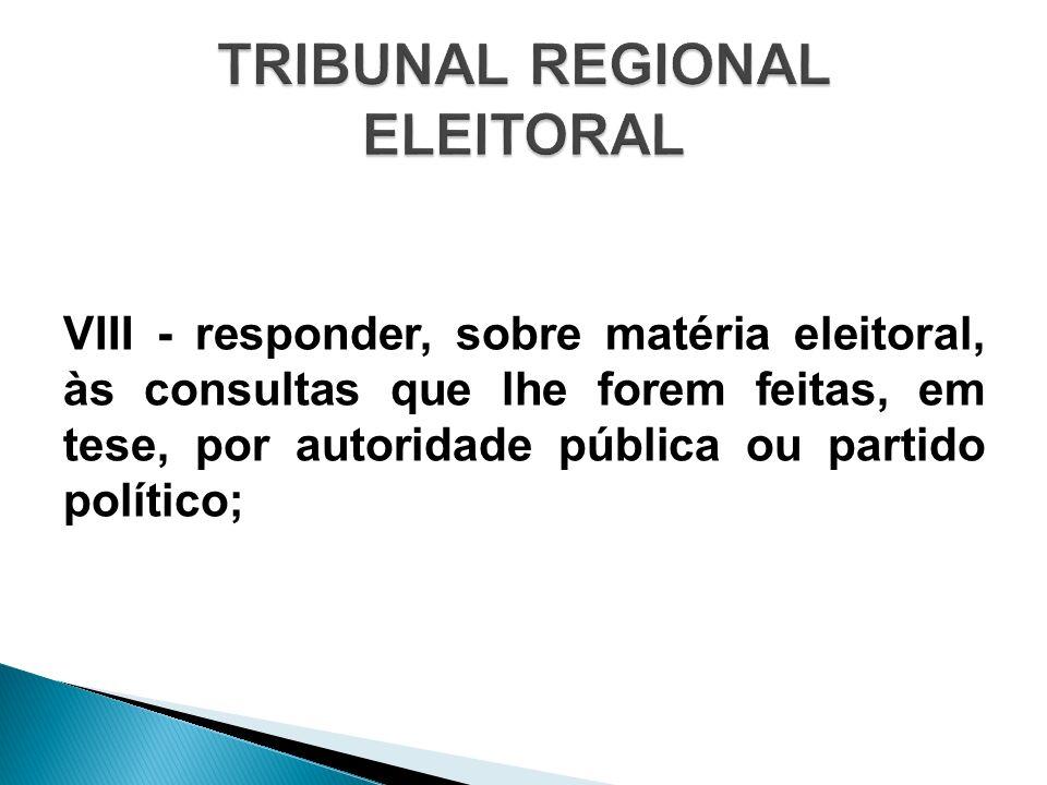VIII - responder, sobre matéria eleitoral, às consultas que lhe forem feitas, em tese, por autoridade pública ou partido político;