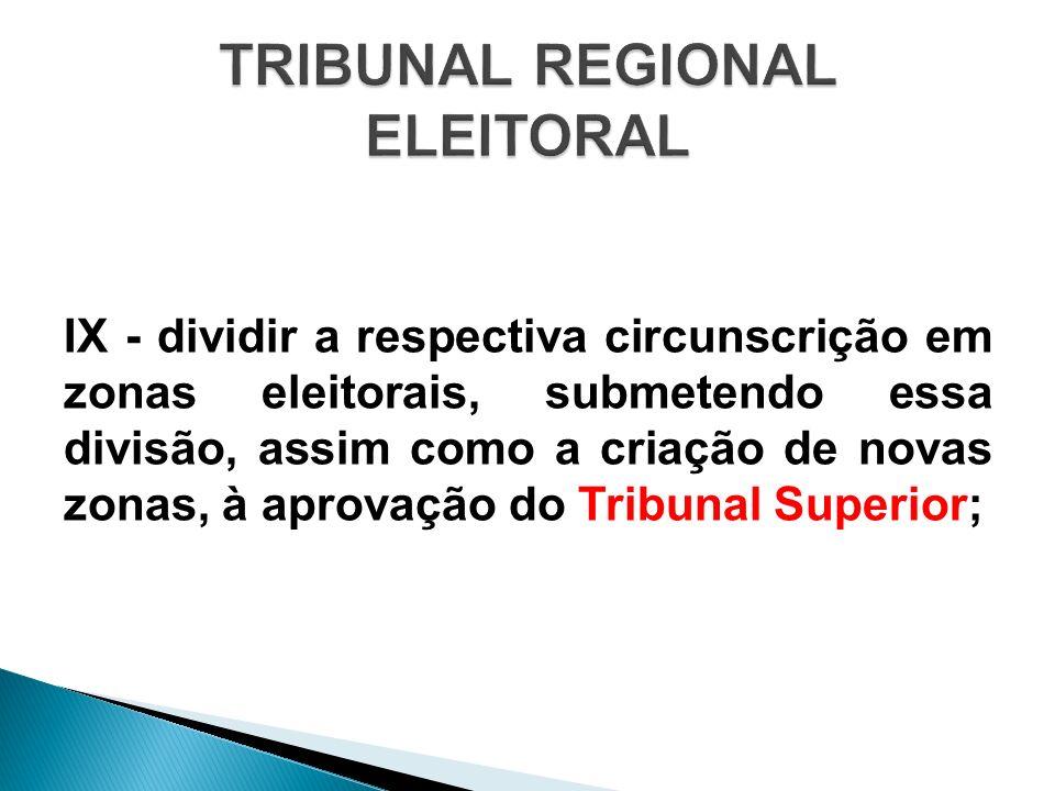 IX - dividir a respectiva circunscrição em zonas eleitorais, submetendo essa divisão, assim como a criação de novas zonas, à aprovação do Tribunal Sup