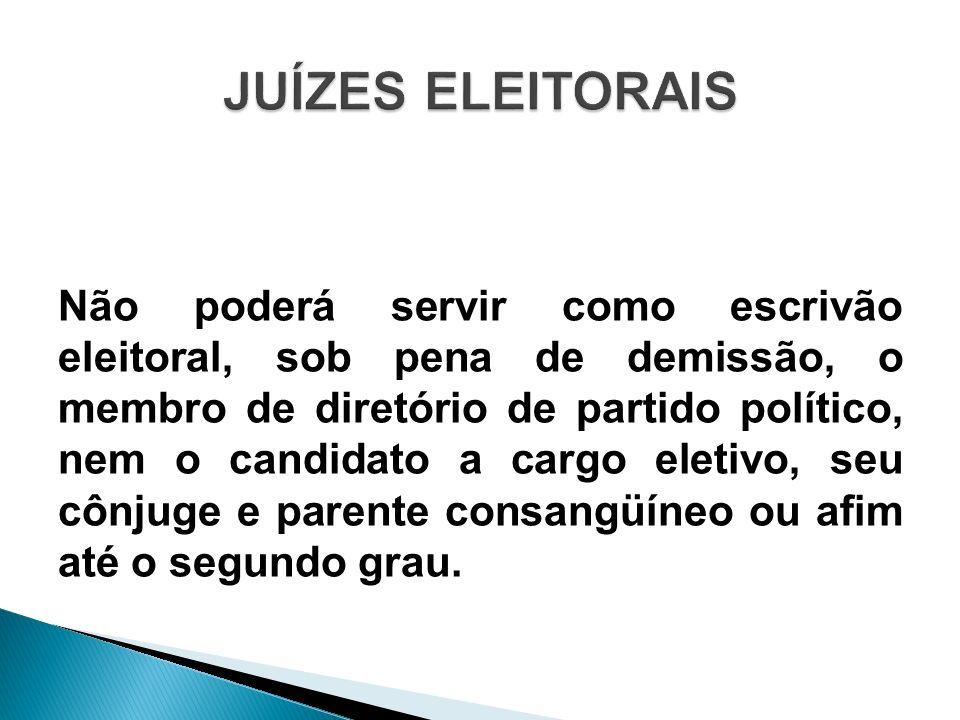 Não poderá servir como escrivão eleitoral, sob pena de demissão, o membro de diretório de partido político, nem o candidato a cargo eletivo, seu cônju