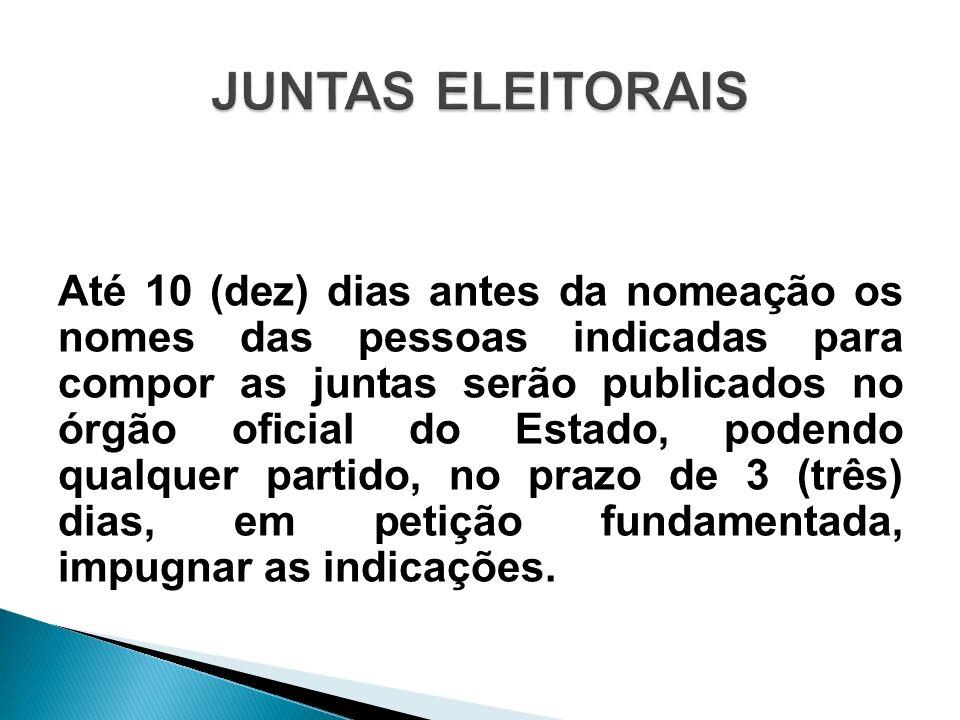 Até 10 (dez) dias antes da nomeação os nomes das pessoas indicadas para compor as juntas serão publicados no órgão oficial do Estado, podendo qualquer