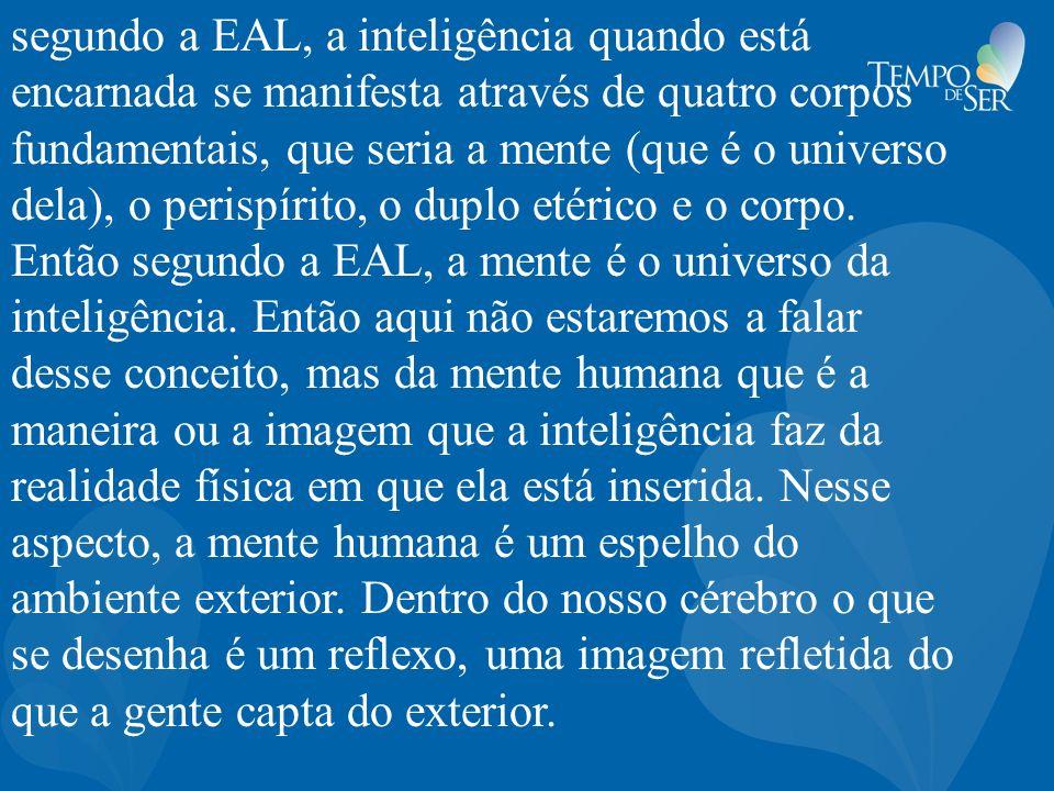 segundo a EAL, a inteligência quando está encarnada se manifesta através de quatro corpos fundamentais, que seria a mente (que é o universo dela), o p