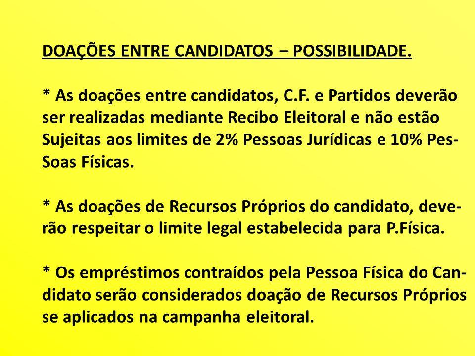 DOAÇÕES ENTRE CANDIDATOS – POSSIBILIDADE. * As doações entre candidatos, C.F. e Partidos deverão ser realizadas mediante Recibo Eleitoral e não estão