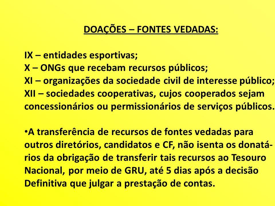 DOAÇÕES – FONTES VEDADAS: IX – entidades esportivas; X – ONGs que recebam recursos públicos; XI – organizações da sociedade civil de interesse público