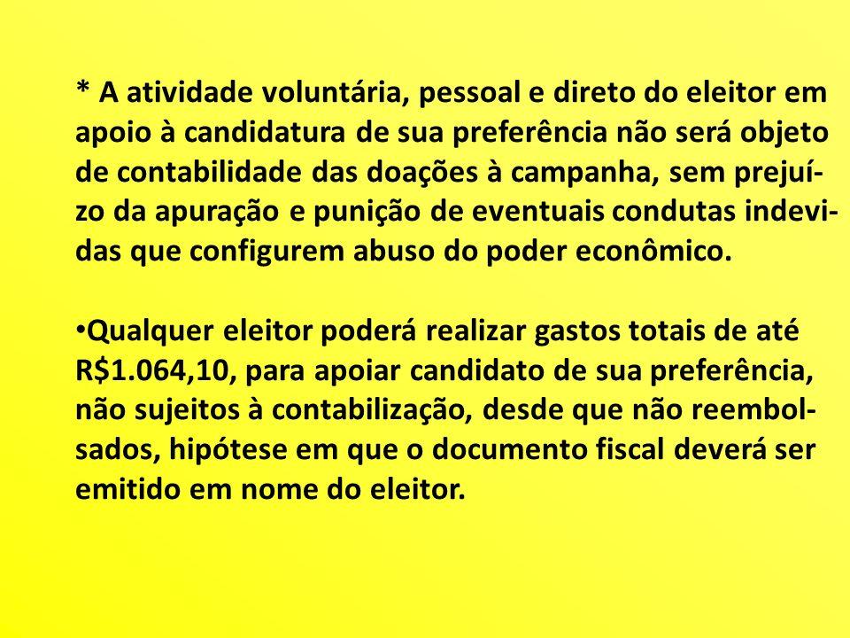 * A atividade voluntária, pessoal e direto do eleitor em apoio à candidatura de sua preferência não será objeto de contabilidade das doações à campanh