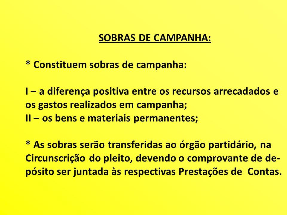 SOBRAS DE CAMPANHA: * Constituem sobras de campanha: I – a diferença positiva entre os recursos arrecadados e os gastos realizados em campanha; II – o