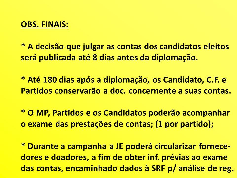 OBS. FINAIS: * A decisão que julgar as contas dos candidatos eleitos será publicada até 8 dias antes da diplomação. * Até 180 dias após a diplomação,