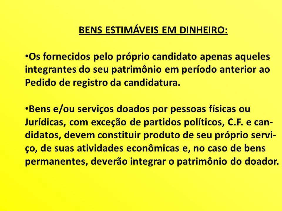BENS ESTIMÁVEIS EM DINHEIRO: Os fornecidos pelo próprio candidato apenas aqueles integrantes do seu patrimônio em período anterior ao Pedido de regist