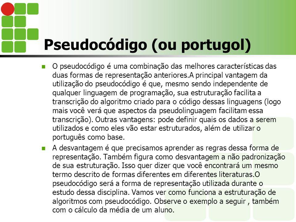 Pseudocódigo (ou portugol) O pseudocódigo é uma combinação das melhores características das duas formas de representação anteriores.A principal vantag