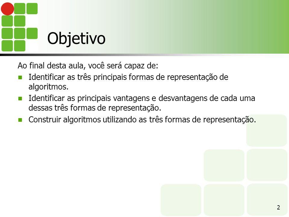 Pseudocódigo (ou portugol) Observação: Vamos utilizar, em nossos exemplos, a notação utilizada na ferramenta VisuAlg.