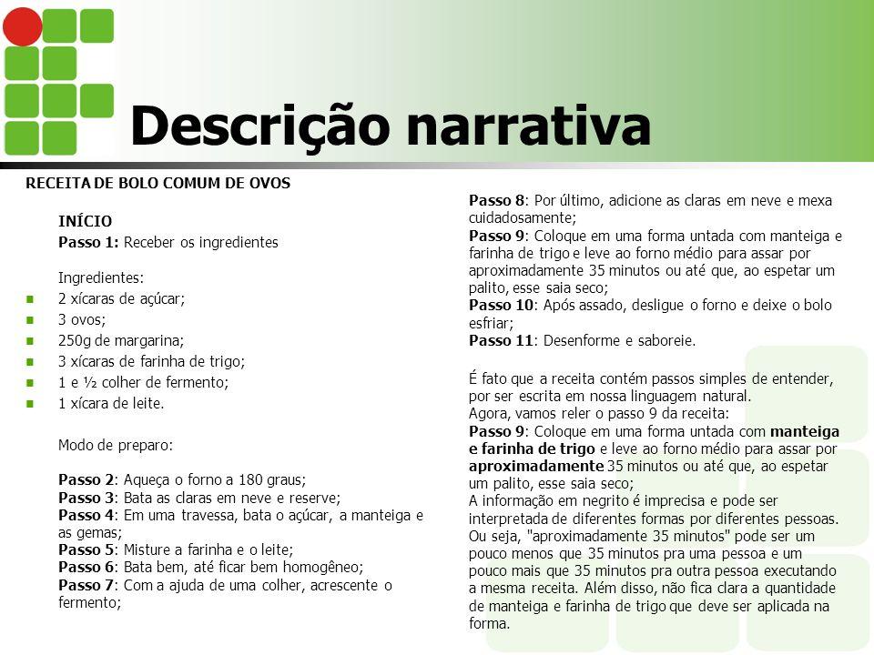 Descrição narrativa RECEITA DE BOLO COMUM DE OVOS INÍCIO Passo 1: Receber os ingredientes Ingredientes: 2 xícaras de açúcar; 3 ovos; 250g de margarina